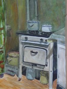 На кухне. 1997, Бум. акв.